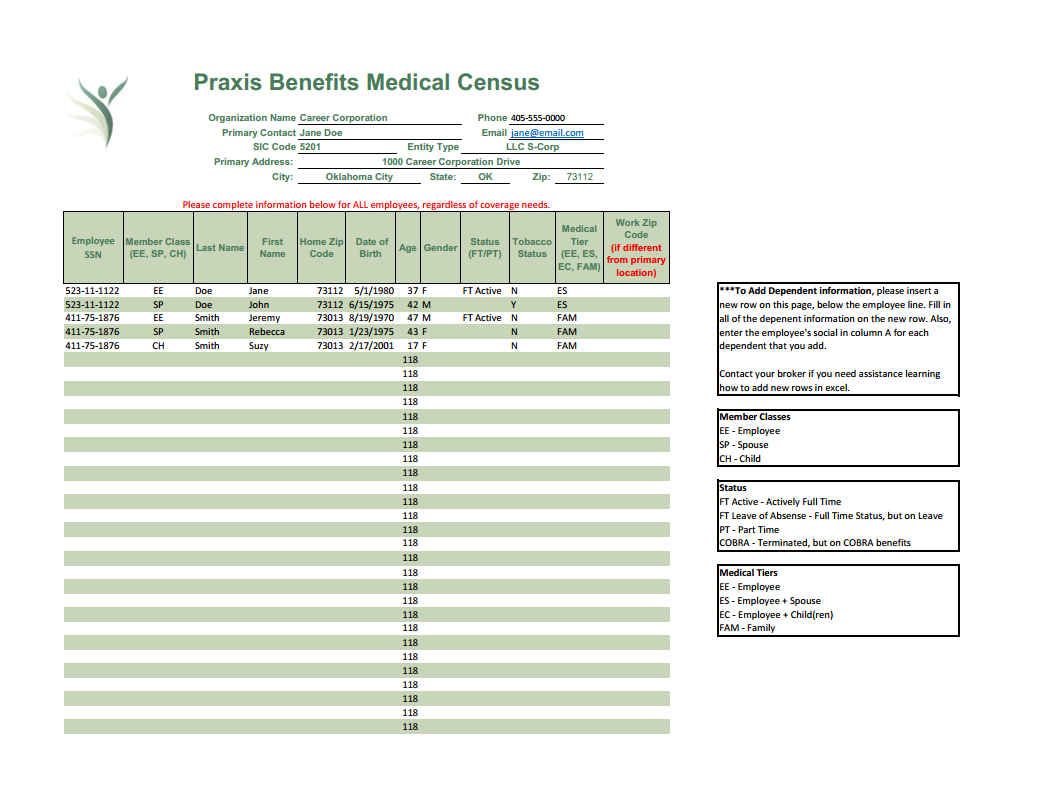 Praxis Medical Only Census